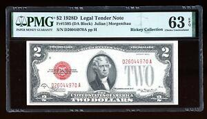 DBR 1928-D $2 Legal Fr. 1505 DA Block PMG 63 EPQ Serial D26044970A
