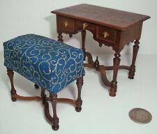 Victoria Morosova Dollhouse William & Mary Lowboy Dressing Table & Bench Ooak