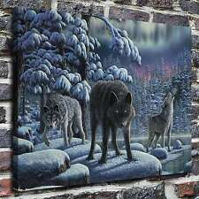 Winter forest wolves Paintings HD Print on Canvas Home Decor Wall Art Pictures