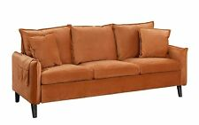 Modern Mid-Century Inspired Sofa Living Room Brush Microfiber Couch, Rust Orange
