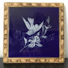 Dessous De Plat Ancien Bleu De Four Décor Oiseau Emaillé 1900 Antique French