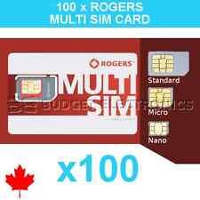100 pcs Rogers Triple Format Nano Micro Standard Sim Card Wholesale Bulk Canada