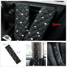 2Pcs Black Diamond Leather Universal Auto Car Seat Belt Cover Shoulder Pads L&R