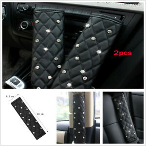 2Pcs Black Diamond Leather Universal Auto Car Seat Belt Cover Shoulder Pads L&R