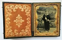 Daguerreotypie 1/4 Platte um 1860, Porträt kleiner Junge in Kulisse Foto
