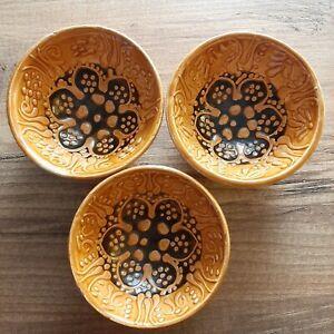 Turkish Brown Ceramic Decorative Handmade Ottoman Style Bowl Cup 3 Pairs