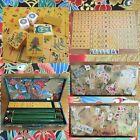 Vtg Chinese Bakelite Mahjong Set 152 Tile 4 Green Racks Decoupage Case Mah Jongg