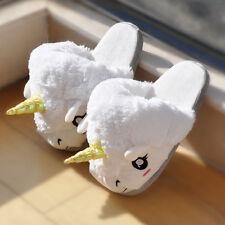 Soft White Cute Cotton Plush Unicorn Slipper Shoe Winter Warm Home Indoor Women