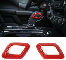 Red Gear Shifter Head Trim Deacorative Cover Bezel for Ford F150 2015-2019 Pair