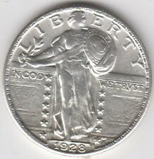 Coin 1928 USA standing Liberty silver quarter in extremely fine condition