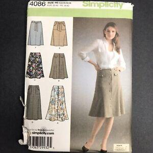 Simplicity Sewing Pattern 4086 Karen Z Sz 2-10 Knee Length Button Skirt Pockets