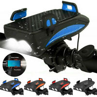 4in1 Bicycle LED Light Lamp Phone Holder Bike Horn Headlight USB Rechargeable
