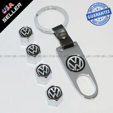 Silver Car Wheel Tire Tyre Valves Dust Stems Air Caps + Keychain With VW Emblem