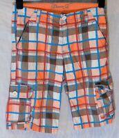 Boys Primark Orange Blue Check Cotton Long Board Cargo Shorts Age 12-13 Years