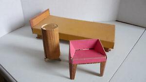 vintage lot of Cardboard BARBIE Furniture Bed, Chair, Table