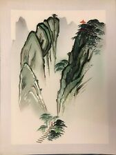 RARE Chinese Art - Bamboo Mosaics & Watercolor on Silk 1950's Original