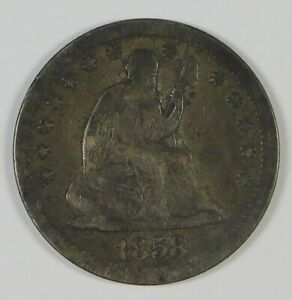1858 25c Seated Liberty Silver Quarter Coin