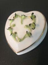 Coalport Heart Trinket Box, Green Shamrock Clover, Bone China, England