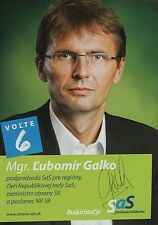 Lubomir Galko - Slovak politician, Autogramm, Autograph
