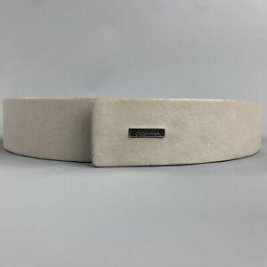 CALVIN KLEIN Size 32 Light Gray Leather Belt