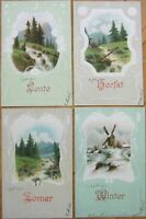 Four Seasons 1903 SET OF FOUR Postcards - French, Embossed Color Litho