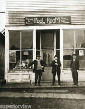 Old Time Pool Hall Vintage Pool Players With Pool Cues Pool Room Sign circa 1900