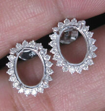 Oval Cut 7×9mm Solid 14Kt White Gold Natural Diamond Semi Mount Earring