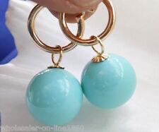 14mm Turquoise Blue south sea shell pearl  dangle earrings AAA+