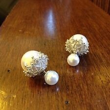 White Double Sided Ball Pearl Earrings Stud Earrings for Women Fashion Jewelry