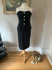 RIVER ISLAND BANDEAU DRESS BLACK WITH DIAMANTEE FITTED WIGGLE Bnwt Size 10