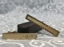 2 Tie Clips Clasp Bar Vintage Gold Tone Etched Swank