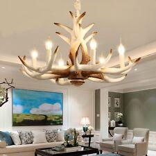 6 Head White Deer Antler Horn Retro Resin Candle Chandelier Lamp Pendant
