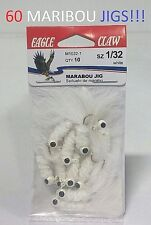 60 Eagle Claw 1/32oz. White Maribou Jigs (M1032-1) EB190301