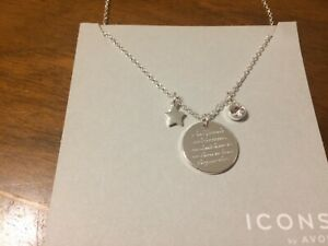 Silver Plated Necklace with engraving for friend. BNIB. Icons by Avon.
