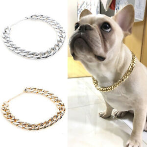 Silver Pet Choker Chain Necklace Collar Small Cat Dog French Bulldog Puppy Teddy