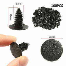 100PCS Car 8mm Hole Plastic Rivet Fastener Mud Flaps Bumper Fender Push Clips