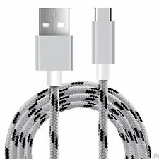 White Braided Micro USB 3.1 Sync Charger Cable Lead For ZTE Axon 7
