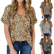 Women Summer Casual Leopard Print Short Sleeve Tops Loose Blouse V-Neck Shirts