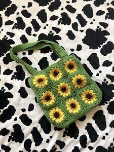 Handmade Sunflowers Crochet Tote Bag