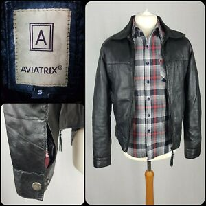 """Mens Black Genuine Leather Quilted Jacket Size 36-38"""" Chest Cropped Aviatrix"""