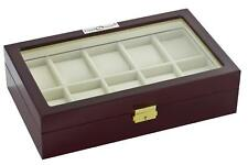 Diplomat 10 Watch Case with View Window, Lock and White Leatherette Interior
