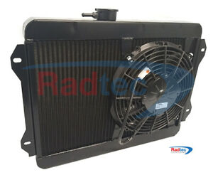 "Lotus Sunbeam Radiator by Radtec + 11"" SPAL fan + Powder coated Black"