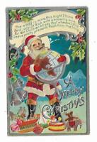Old Christmas Postcard Santa Claus World Holding GLOBE Toys EMBOSSED