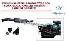 Para Real Enfield Moto 350 500cc Negro Angular Upswept Silenciador Escape