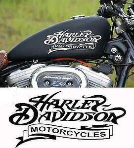 Harley Davidson Tank Aufkleber in Weiss glanz  18 ×8 cm.Top Neu 2 Stück