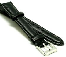 14mm Black Leather Watch Strap Crocodile Grain Steel Buckle and Spring Bar