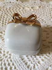 Golden Bow Pottery Ring  /  Trinket Box Finished 24K  Paint