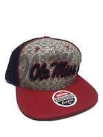 Ole Miss Mississippi Rebels Zephyr Adjustable Snapback Blue Cap Hat Red Bill