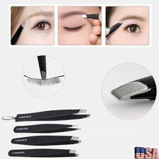 4pcs Professional Eyebrow Tweezers Hair Beauty Slanted Stainless Steel Kit Tool