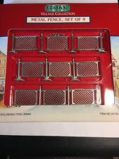LEMAX METAL FENCE SET 9 Piece Chain Link -Village/Carnival/Train